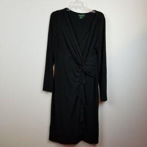 Lauren Ralph Lauren black wrap dress size 14